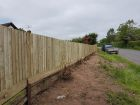 Refurb feather edge fencing.  The customer wanted to use existing framework, so new boards added and arris rails where needed